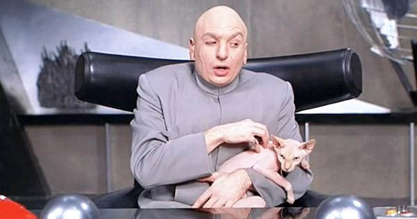 Dr. Evil petting his shaved cat in Austin Powers