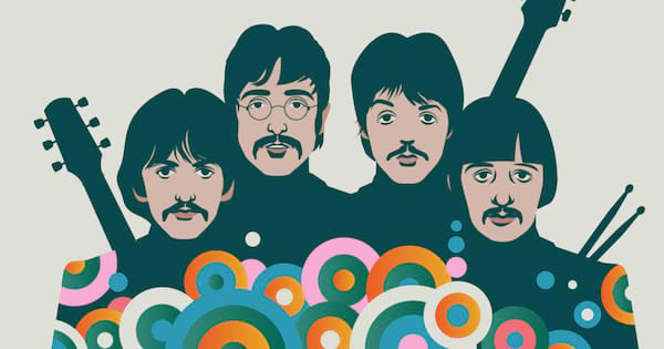 An illustration of The Beatles in 1970