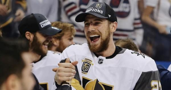 Players celebrating from the Las Vegas Golden Knights