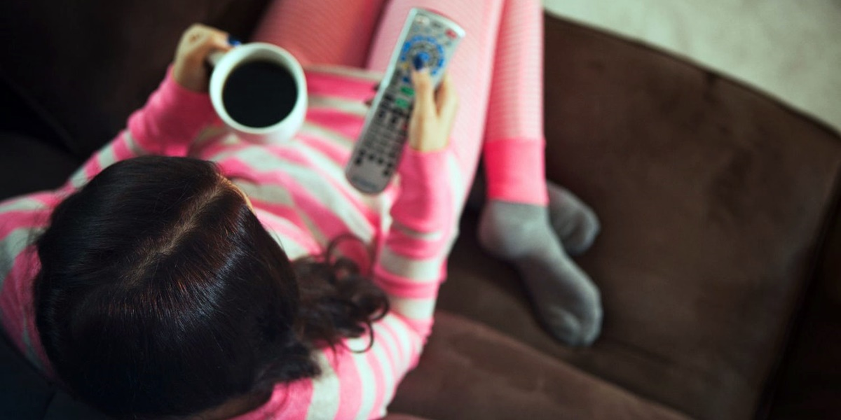 Woman watching TV., tv, movies, pop culture