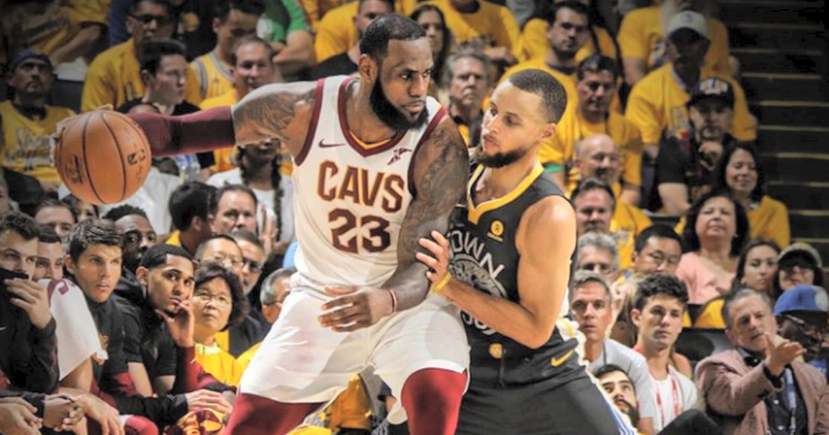 Lebron James and Steph Curry facing off in the NBA finals 2018