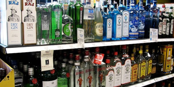 Aisle of gin at the store., science & tech, food & drinks