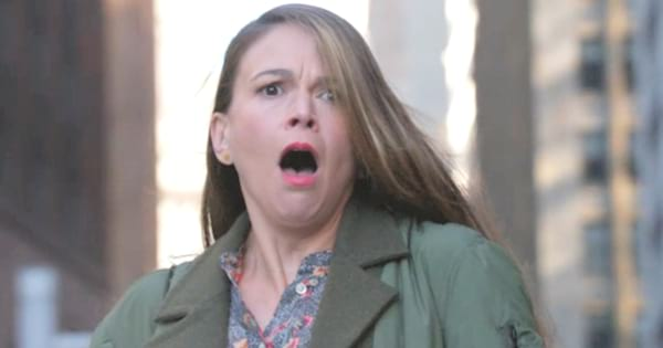 Sutton Foster making a shocked face in an episode of TV Land's Younger