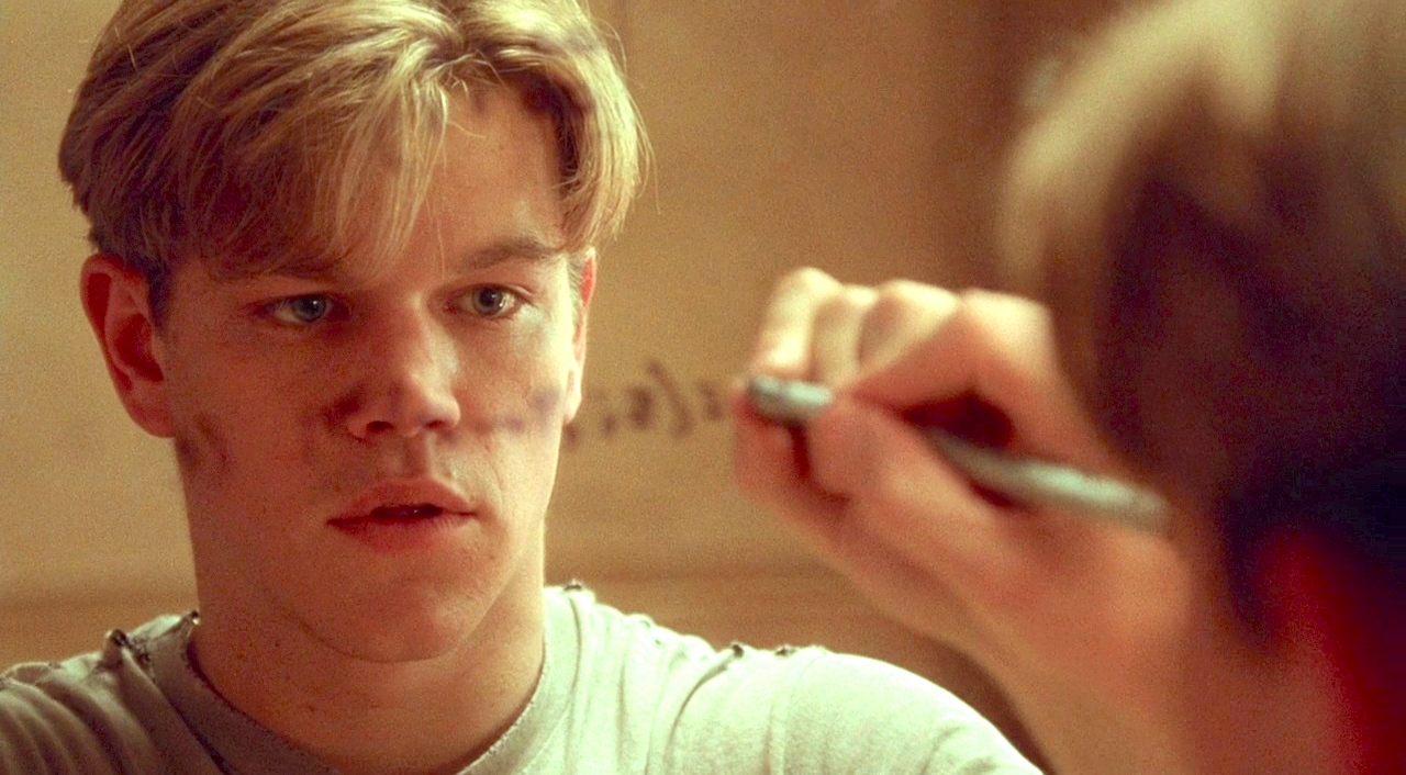 Good Will Hunting, Matt Damon, juju, thinking, male, celebs, smart, hero