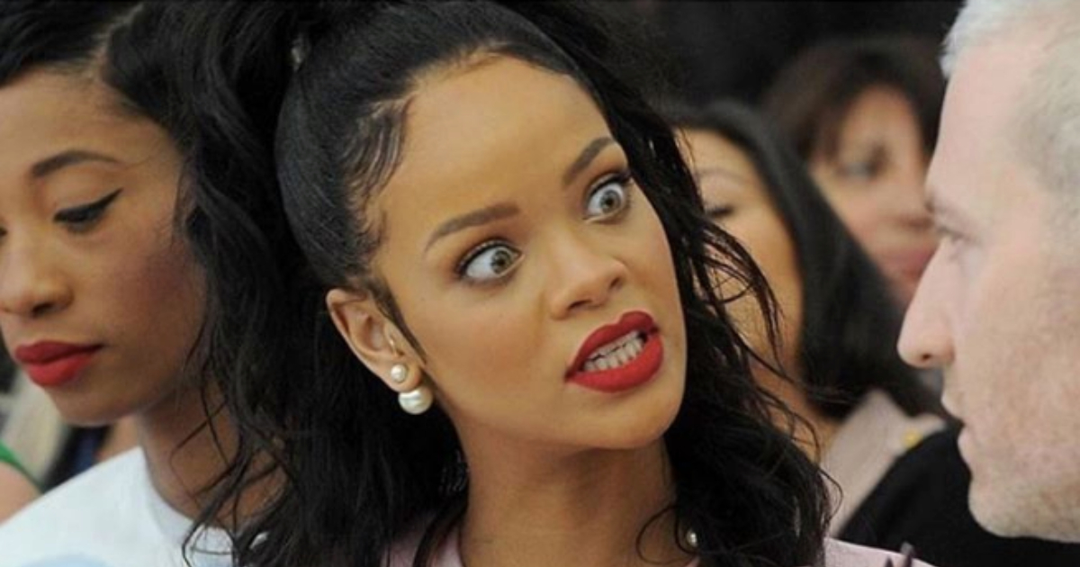 Rihanna looking upset at a guy, funny, weird, personality