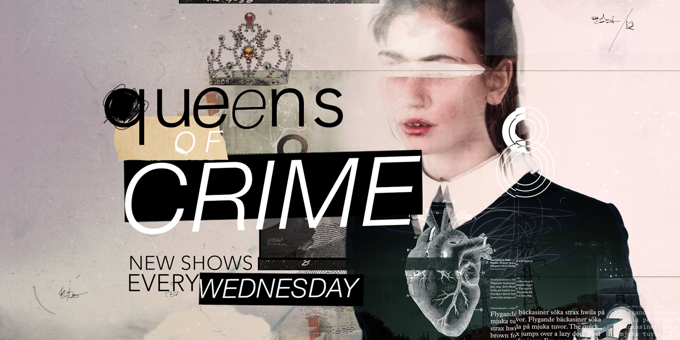 Queens of Crime podcast banner., pop culture