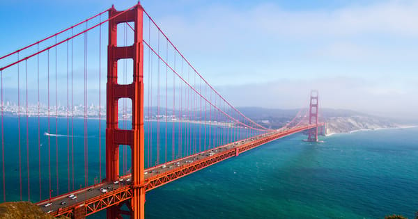 Wide shot of the San Francisco Golden Gate Bridge during the daytime