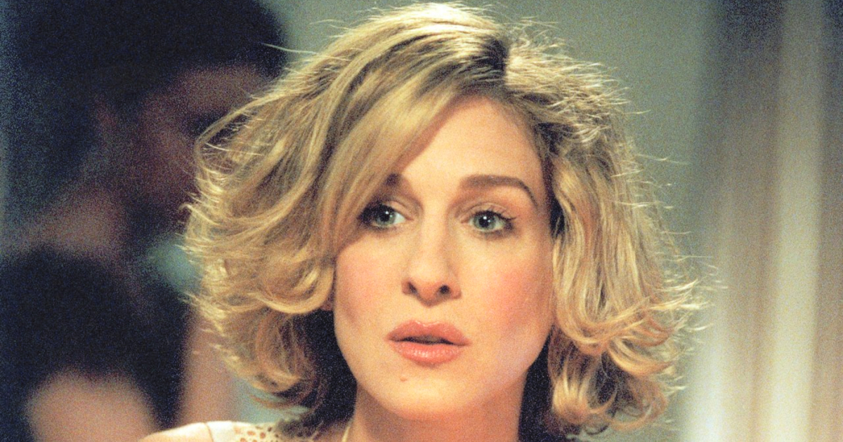 Sarah Jessica Parker looking pensive as Carrie Bradshaw in Sex and the City