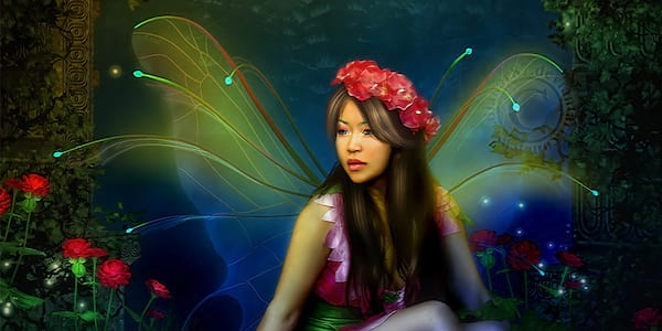 Fairy crouching in plants., science & tech, pop culture