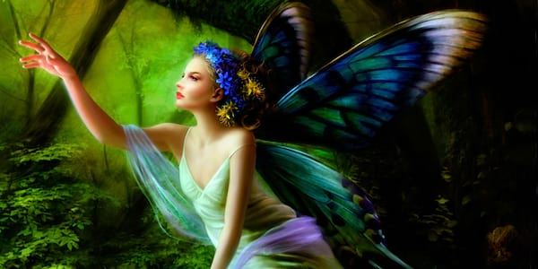 A fairy reaching for something.