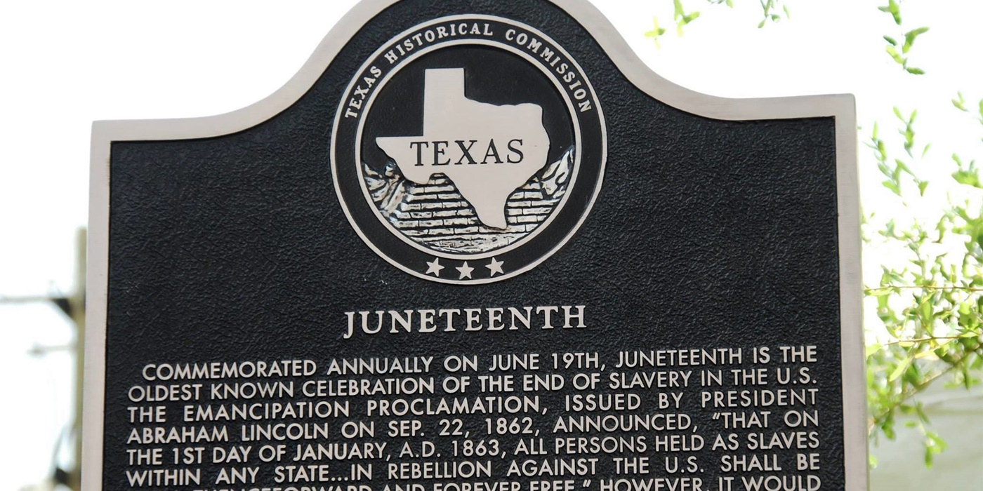 Historical sign about Juneteenth., science & tech, culture