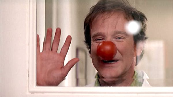 robin williams wearing a clown nose in patch adams, robin williams, doctor, medical, health