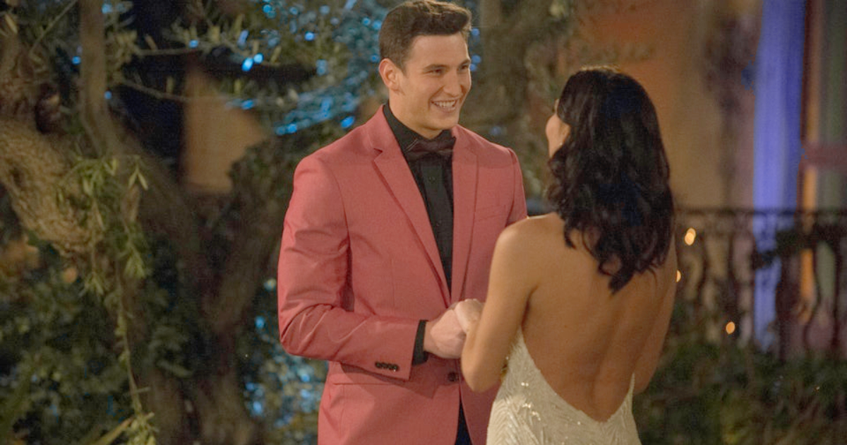 Blake meeting Becca K. on Season 14 of The Bachelorette