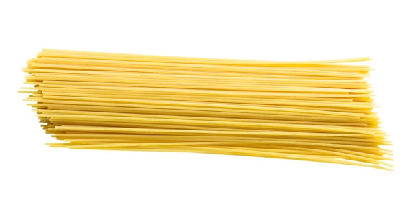 Spaghetti noodles on a white background