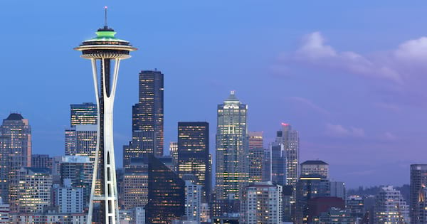 Seattle skyline with the Space Needle in the foreground at night