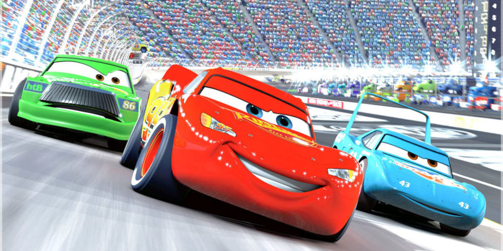 Cars - Lightning McQueen in the final race ending scene, movies