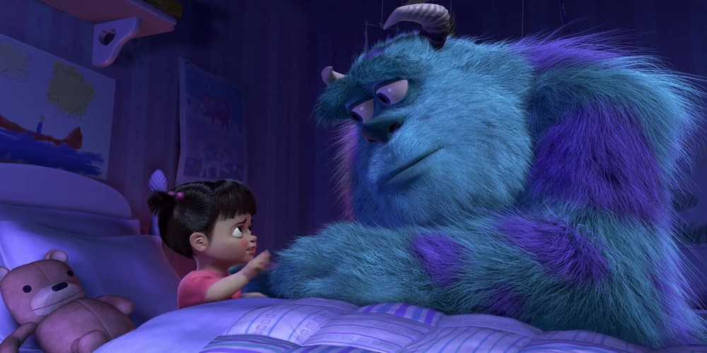 Monsters Inc - Boo and Sully holding hands and saying goodbye ending scene, movies