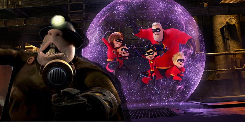 The Incredibles 2 - The Incredibles family is trapped in the Underminer's bubble, movies