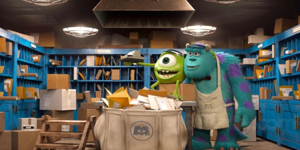Monsters University - Mike and Sully in the mailroom laughing, movies