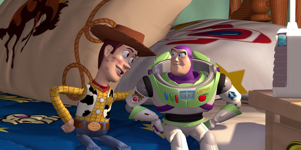 Toy Story - Woody and Buzz sitting on the bed ending scene, movies