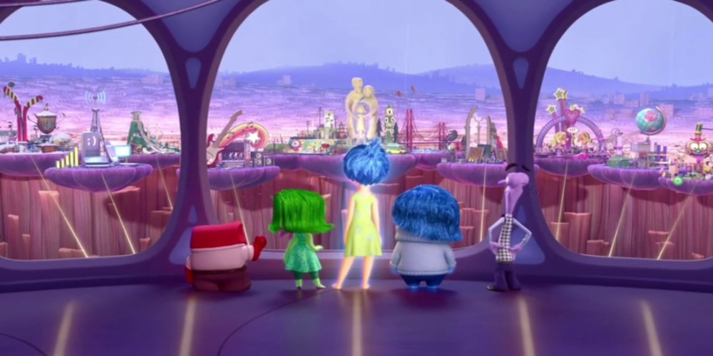 Inside Out - Inside Out characters look out at Riley's new lands ending scene, movies