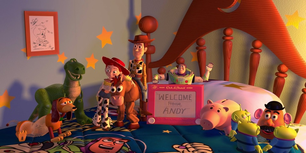 Toy Story 2 - Woody, jessie, Buzz, and others join up to welcome Andy home, movies