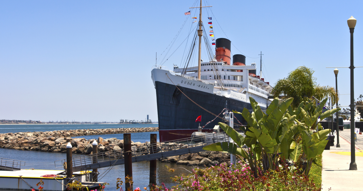 Scenic shot of the Queen Mary in Long Beach