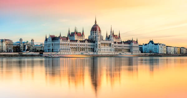Scenic shot of Budapest Parliament building at sunset