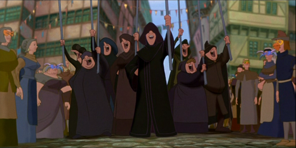 the hunchback of notre dame, Misfits, crowd, Disney, movies