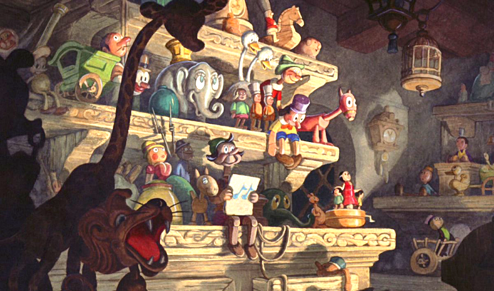movies, Disney, Pinocchio, geppetto's workshop, toys