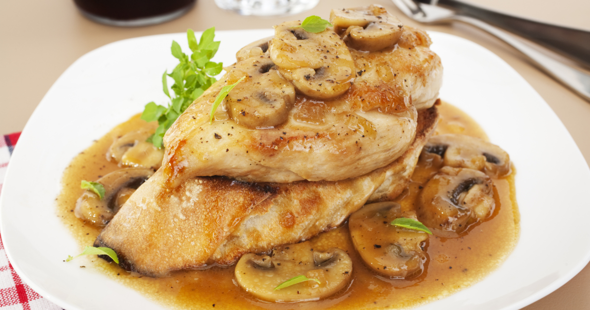 Chicken breast in a rich, sweet sauce with marsala, chicken stock and mushrooms