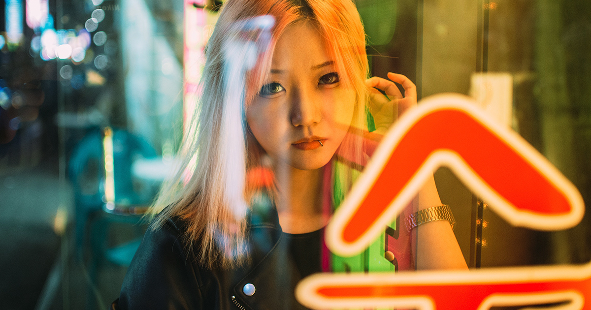 asian girl with pink hair looking through glass sign china, chinese, China, hong kong instagram captions, quotes