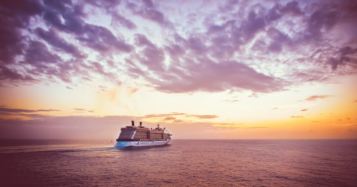 Cruise ship in the distance. The sun is setting and colorful., science & tech, travel