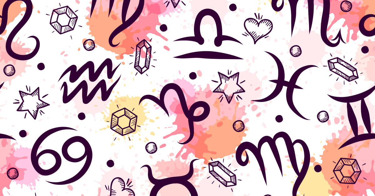 Illustration of zodiac sign symbols on pink, yellow, and orange background