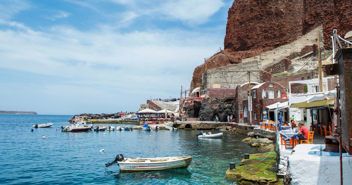 Small fishing port in Santorini, Greece. The back of the village is visible., science & tech, travel