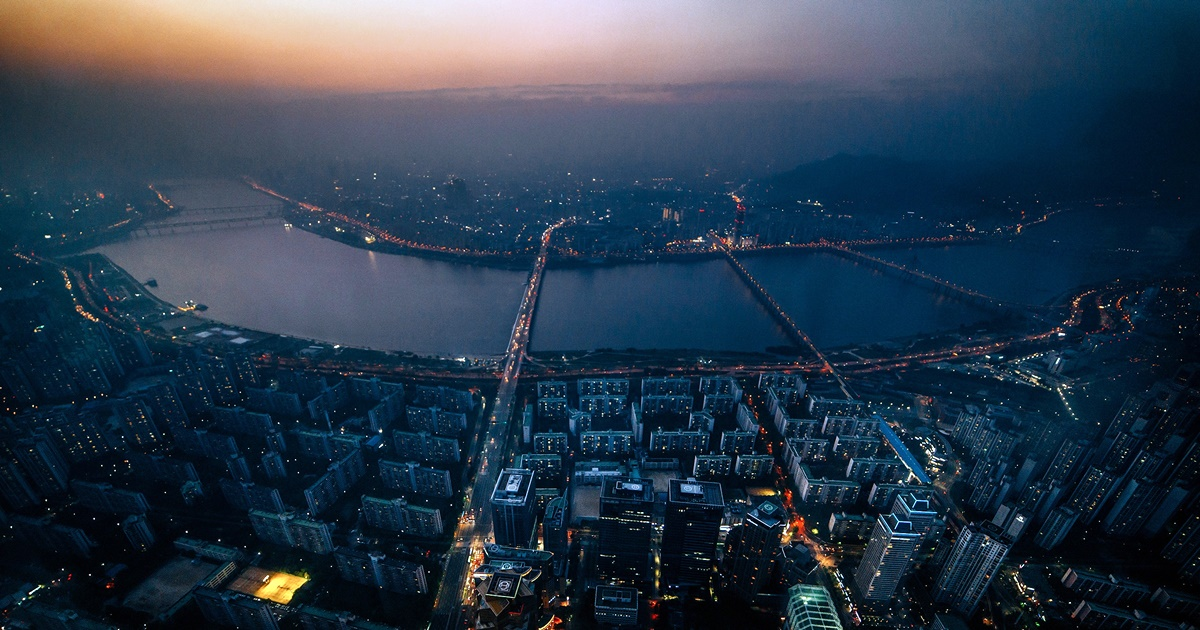 Aerial photo of downtown Seoul., science & tech, travel