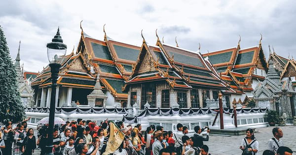 People taking pictures at the palace in Bangkok., science & tech, travel