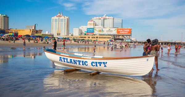 The boardwalk and Casinos on August 3, 2015 in Atlantic City, New Jersey