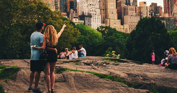 central park instagram captions, quotes, puns, funny, couple in central park looking at the city, hipster girl with glasses