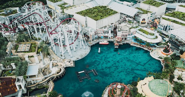 roller coaster instagram captions, quotes, aerial view of theme park, girl in a ferris wheel