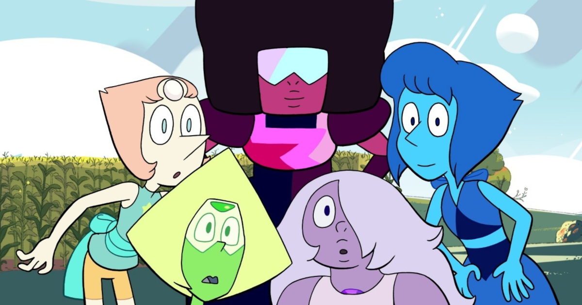 The Crystal Gems looking shocked in an episode of Steven Universe