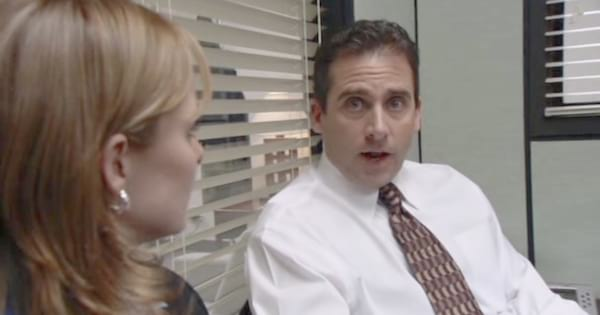 Steve Carrell as Michael talking to Jan in the first episode of The Office