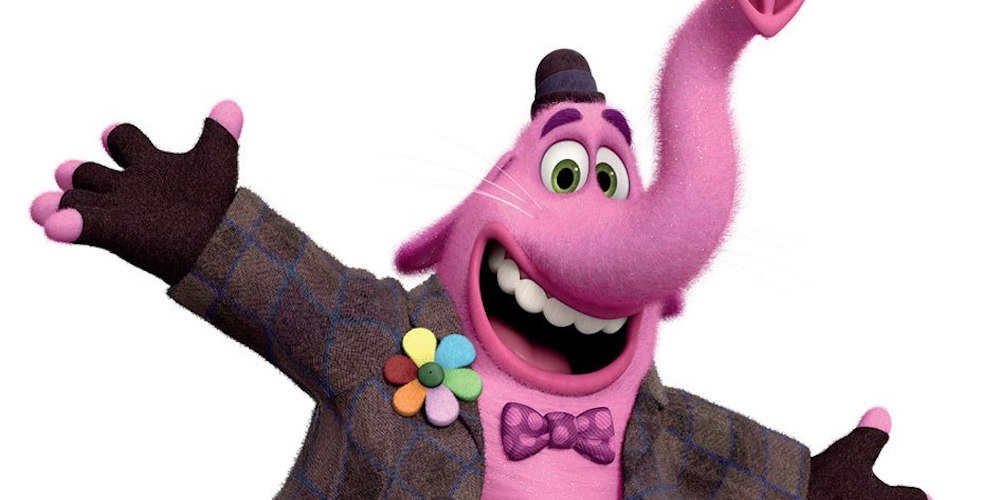 Bing Bong from Inside Out smiles and spreads arms, movies