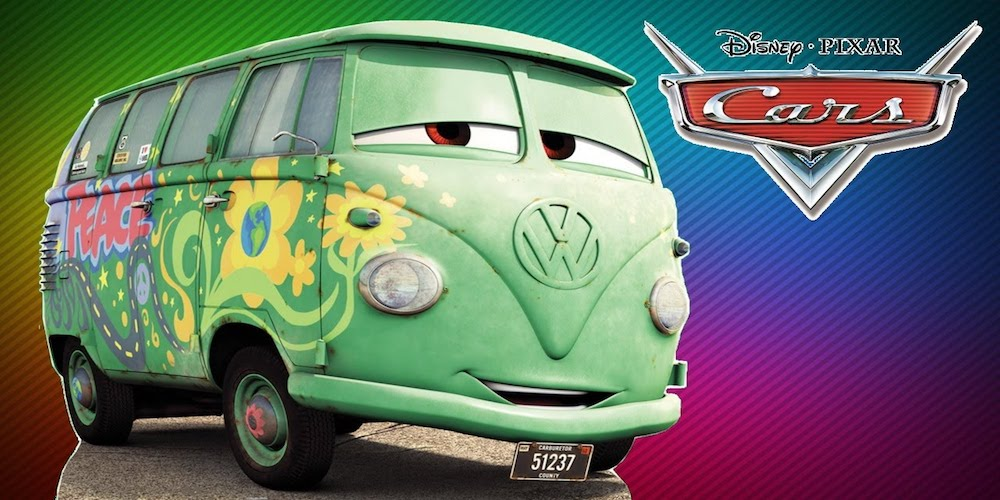 Fillmore from Pixar Cars surrounded by rainbows, movies