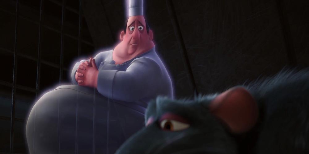 Auguste Gusteau from Pixar's Ratatouille looks at Remy, movies