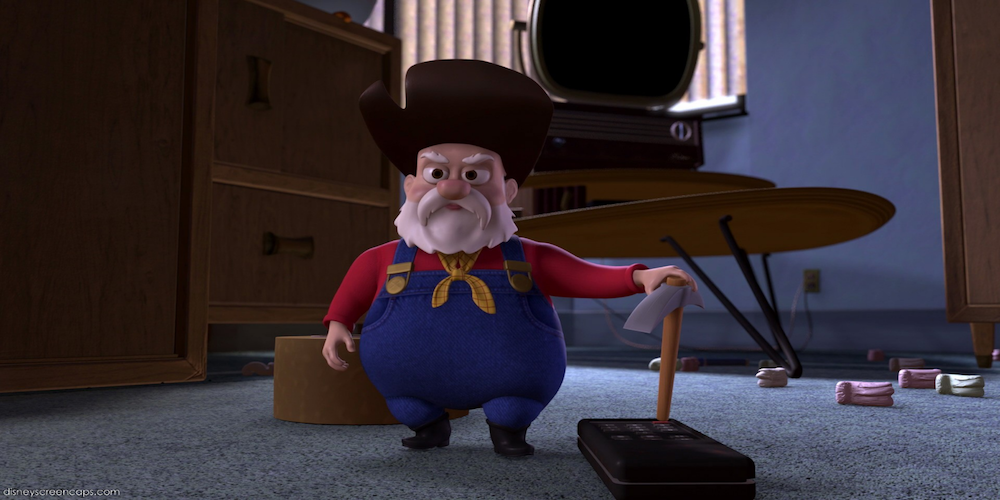 Stinky Pete from Pixar's Toy Story puts his pick axe down, movies