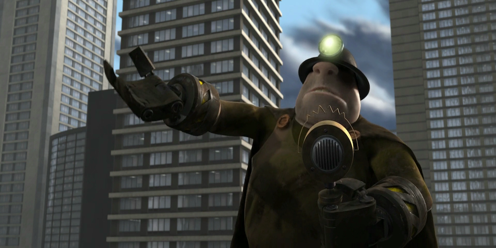 The Underminer from Pixar's The Incredibles speaks into mic, movies