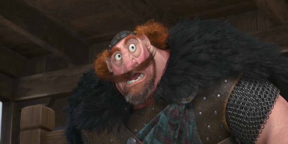 King Fergus from Pixar's Brave has his mouth open, movies