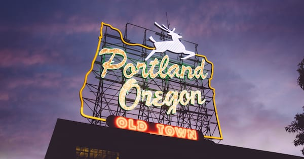 Portland, Oregon's old town neon sign