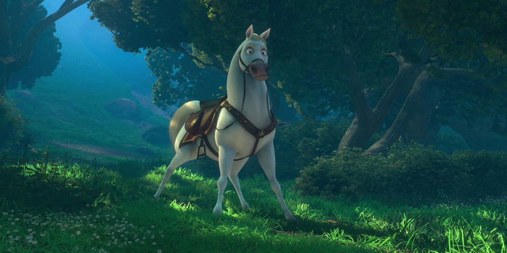 Maximus from Disney's \Tangled\ stands with his legs apart in the grass, movies